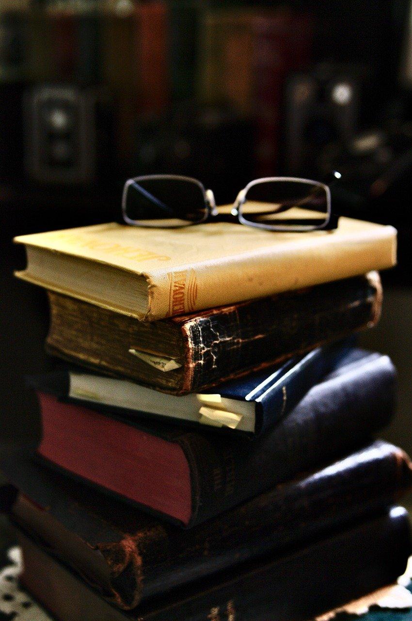 books, stack, glasses